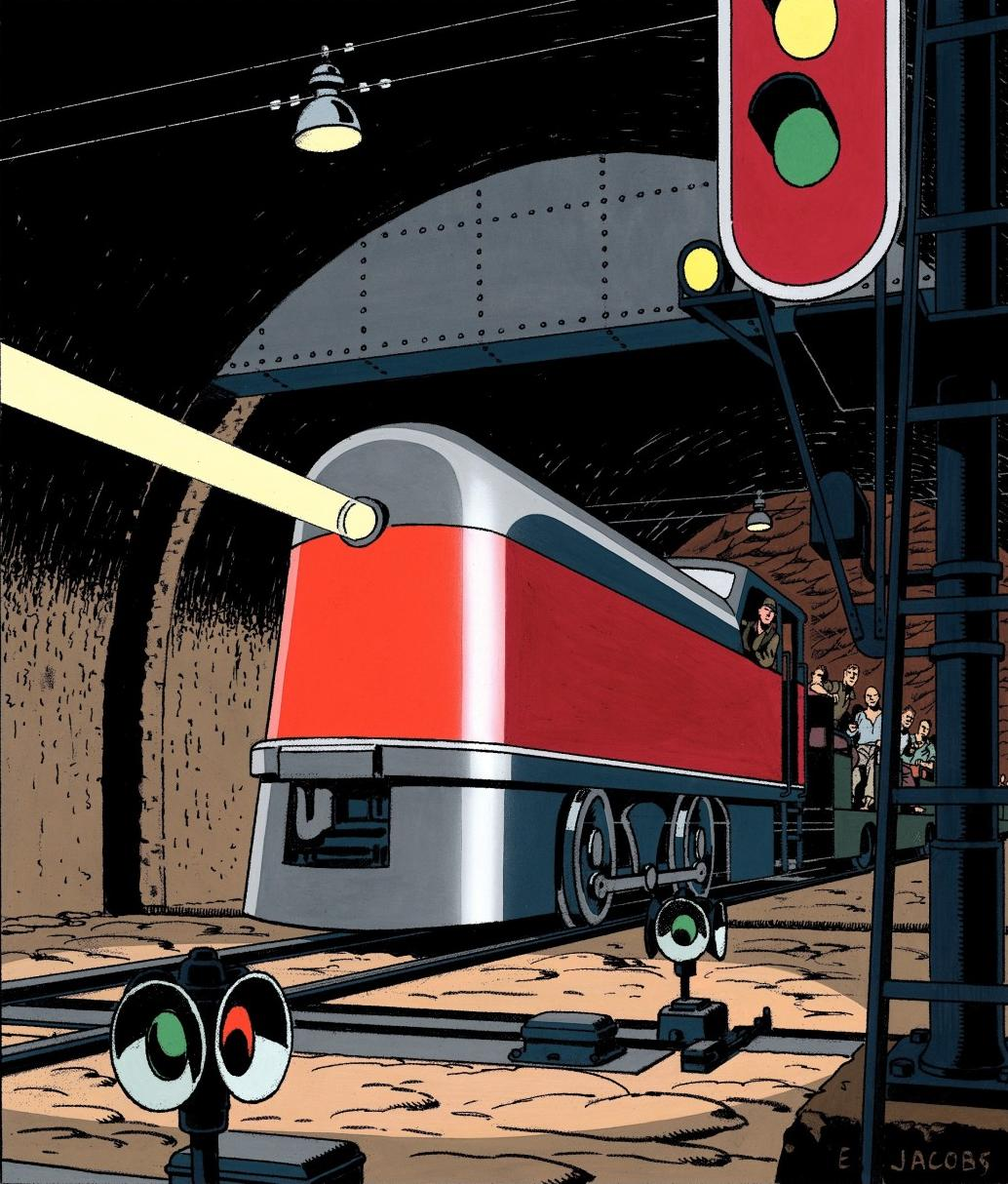 What I particularly love about Edgar P. Jacobs' style is how he draws large machinery and vehicles, always using crisp lines and fantastic application of dark areas.